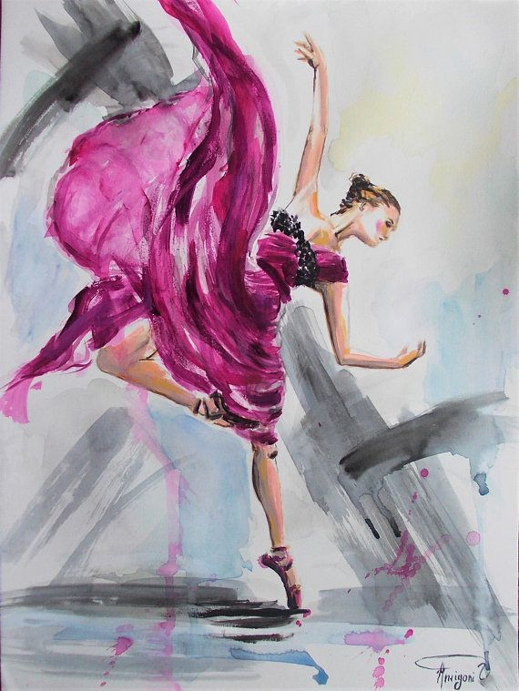 Original ballerina painting,ballerina watercolor and acrylic painting,ballet painting,ballet art,dancer painting,ballerina dancing,ballet