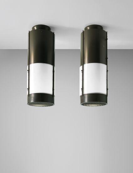 PHILLIPS : UK050113, STUDIO BBPR GIANLUIGI BANFI 1910-1945 LODOVICO BELGIOJOSO 1909-2004 ENRICO PERESSUTTI 1908-1976 AND ERNESTO NATHAN ROGERS 1909-1969, Pair of large ceiling lights, designed for the cinema Mediolanum, Milan