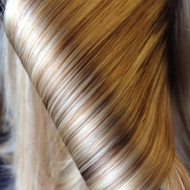 I choose many shades of blonde for this clients hair color..perfectly natural looking .. With flair!                                                                                                                                                      More