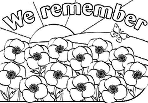 Remembrance Day Holidays Coloring Page