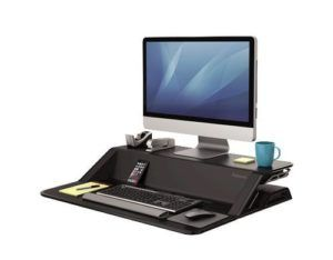 "Fellowes Sitz-Steh Workstation Lotus, Höhenverstellbar, Maximale Bildschirmgrösse: 27 "", Farbe: Schwarz, Vesa Halterung: Kein mm, Anzahl Bildschirme: 2"