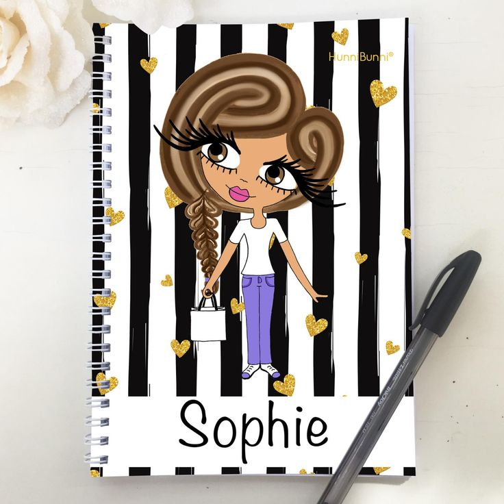 HunniBunni Little Miss Black And White Stripe Personalised A5 2016 Diary
