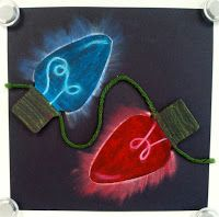 Cobalt Art Studio re-pinned Art with Ms. Gram: chalk pastel glowing Christmas lights! What a bright idea!