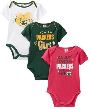 NFL Network Green Bay Packers Bodysuits - Set of 3 (Baby Girls)