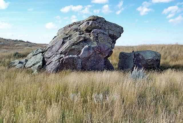 The isolated Standing Rock on the prairie near Hazlet, Saskatchewan