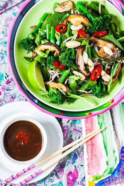 Spicy Buckwheat Noodles With Tamarind Sauce  Hemsley & Hemsley present a quick, gluten-free dish with superfood shiitake mushrooms