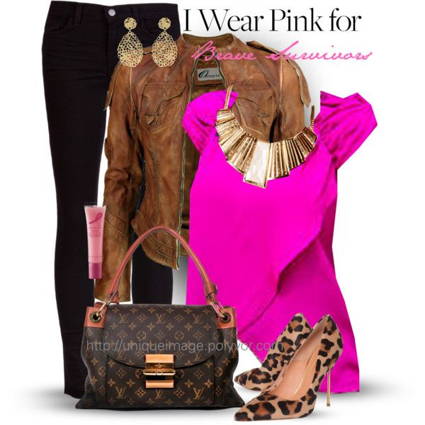 """""""Pink for a Cause"""" by uniqueimage on Polyvore"""
