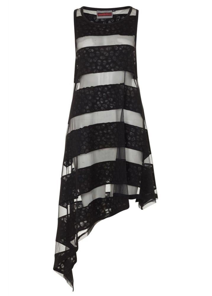 Skull Striped Asymmetric Gothic Dress