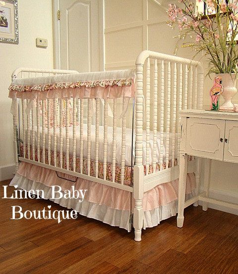 Baby Bedding. Pink and White Crib Beddng. skirt rail by LinenBaby