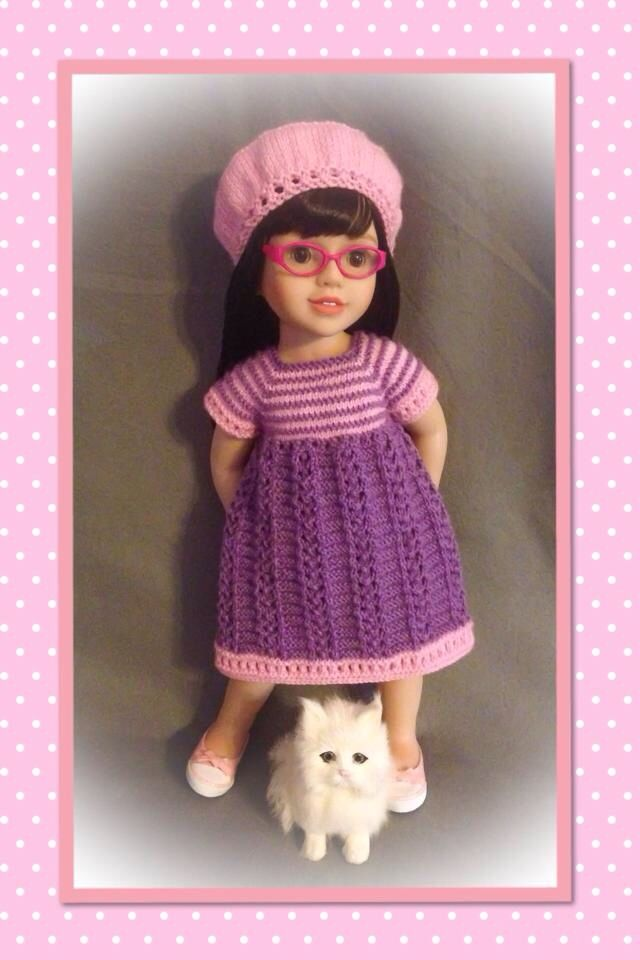 Lilac Tea Party Dress - 18 inch American Girl Doll Clothes Clothing This is a lovely dress, perfect for tea parties. It is made with lilac cotton fabric featuring little white spots. Featuring coordinating ribbon and front bodice detail, this dress will be a sweet addition to your collection.