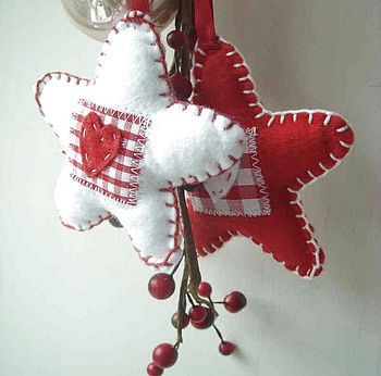 Red and White Felt Star Decoration