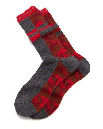 2014 hot stuff - #ArthurGeorge by Robert #Kardashian socks Split Camo Men's Socks, Charcoal/Red - Arthur George by Robert Kardashian
