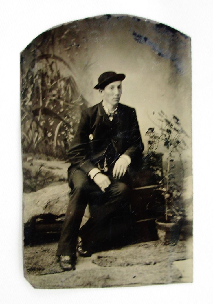 ANTIQUE TINTYPE PHOTO HANDSOME DAPPER YOUNG MAN WEARING A HAT & NICE WATCH FOB   eBay