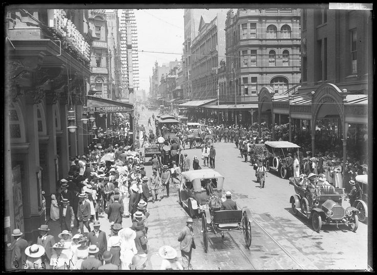 Title: Pitt Street near Market Street, Sydney Dated: No date Digital ID: NRS4481_MS2766P Series: NRS 4481 Government Printing Office glass plate negatives This was digitised as part of State Records NSW Centenary of ANZAC commemorations. Rights: No known copyright restrictions www.records.nsw.gov.au/about-us/rights-and-permissions We'd love to hear from you if you use our photos/documents. Many other photos in our collection are available to view and browse on our website using Photo In...