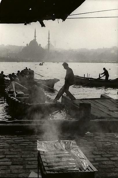 Docks in Galata, Istanbul, Turkey, with the Suleymanye Mosque in the background, 1964 by Henri Cartier Bresson