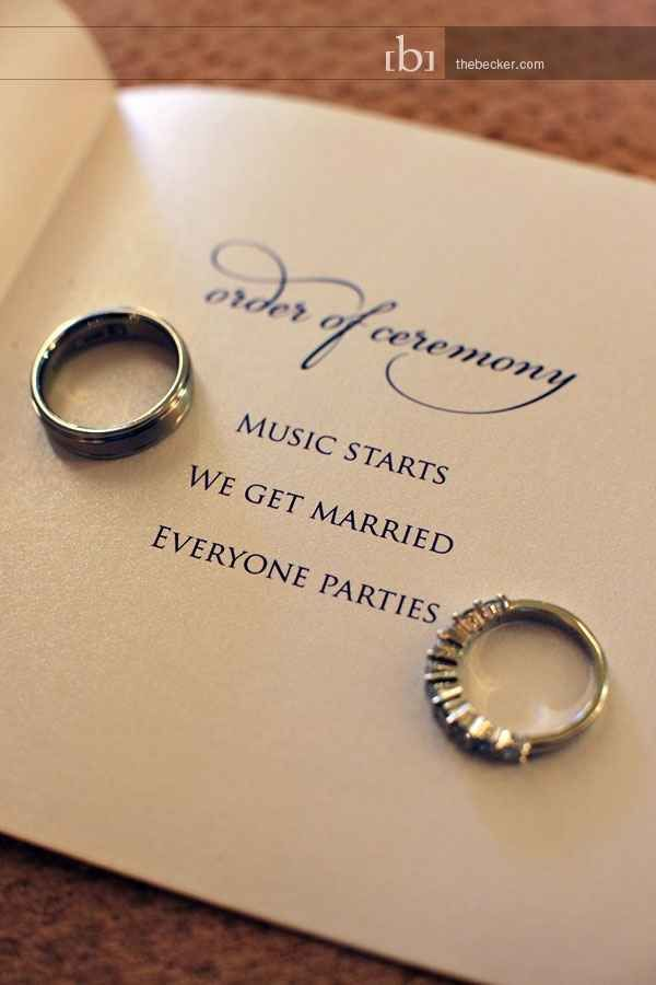 Keep the program simple and to the point. Awesome ways to make a wedding so unique!