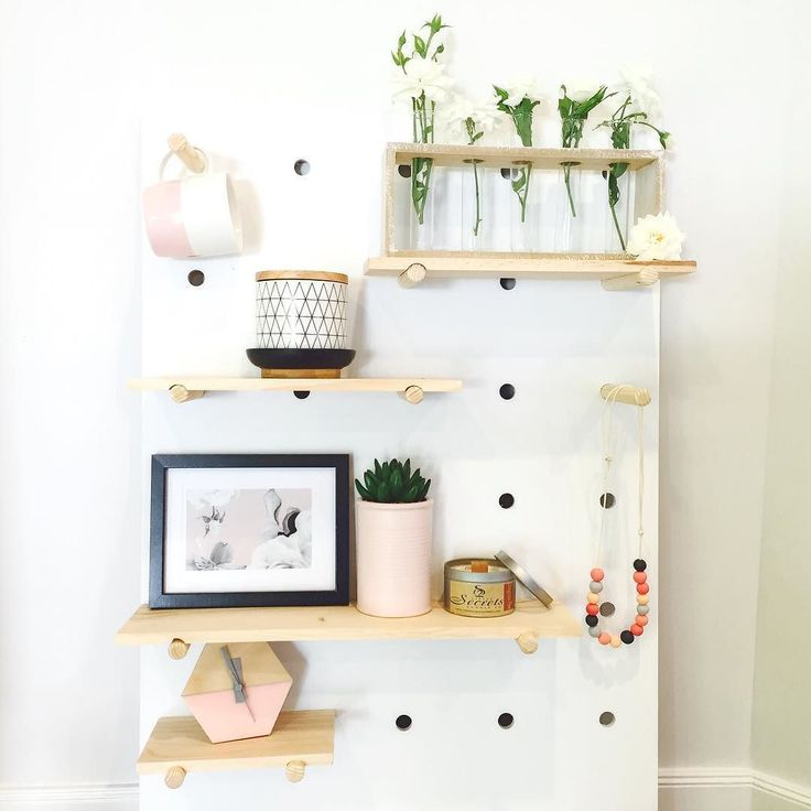 Kmart pegboard with shelves