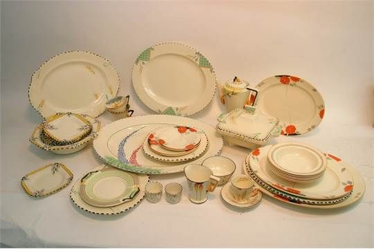A group of various pattern Art Deco Burleigh Ware ceramics, Stacey's Nov 2016. No estimate given.