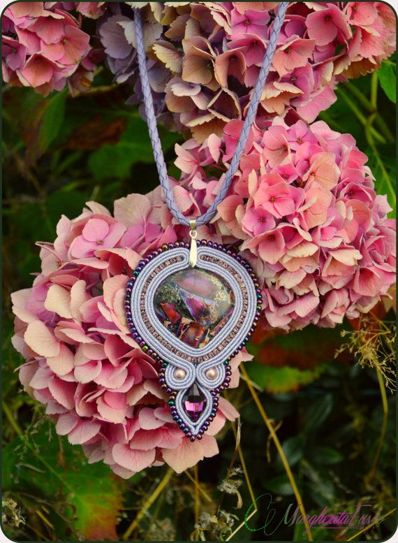 Handmade soutache embroidery pendant with jasper and by 75marghe75