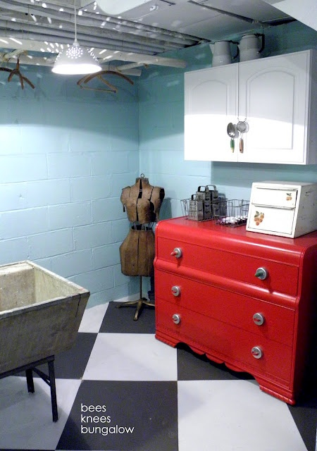 Turquoise and Red Laundry Room