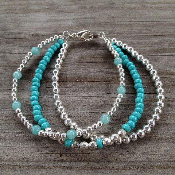 Inspiration Photo - Triple Strand Teal & Silver Simple Beaded Bracelet on Etsy, $20.00