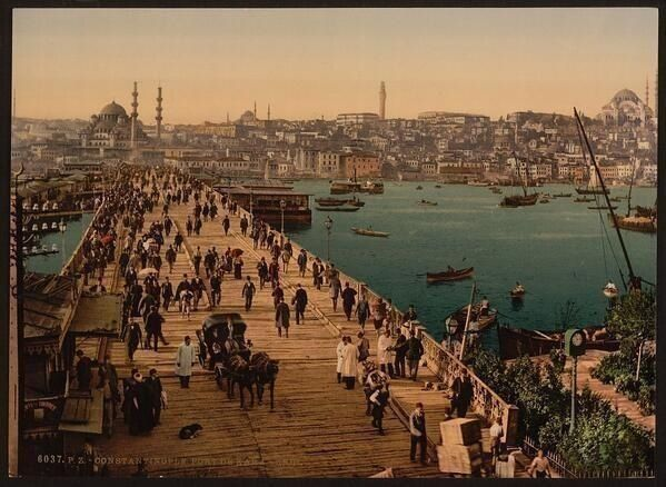 Photochrom of Galata Bridge, Istanbul, Turkey, late 1800s: Beautiful Istanbul, Istanbulun Ilk, Once, Cities, Eski Istanbul, Karakeui Galata, Galata Bridges, Late 1800S, Photo
