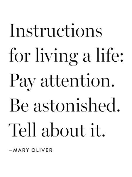 Instructions for living a life: Pay attention. Be astonished. Tell about it. :: Mary Oliver Canvas Print: