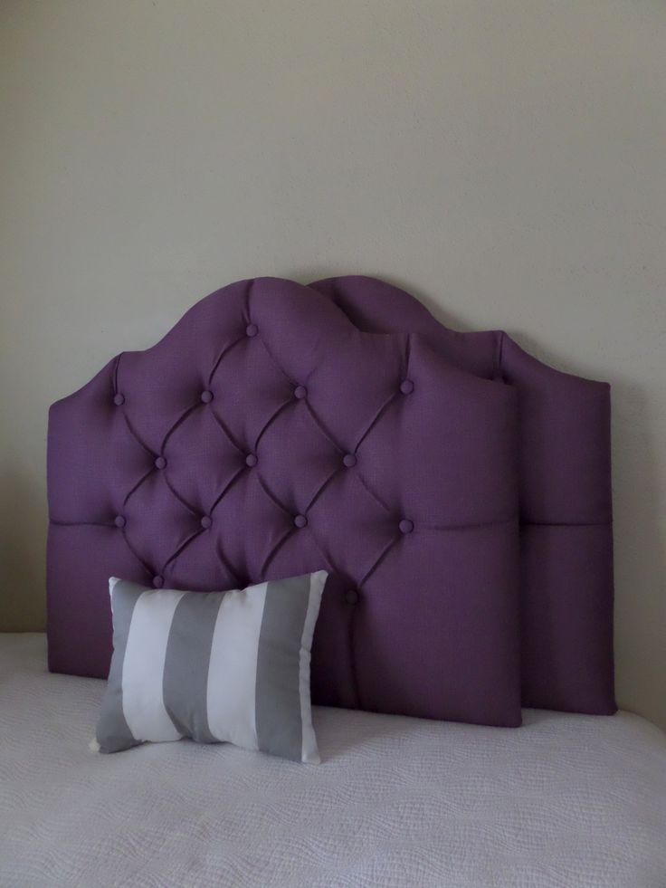 Twin size tufted upholstered headboard eggplant plum