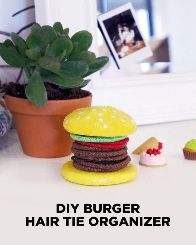 DIY Burger Hair Tie Organizer