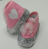 Size NB (0) Blinged out canvas tennis shoes, bottom totally encrusted