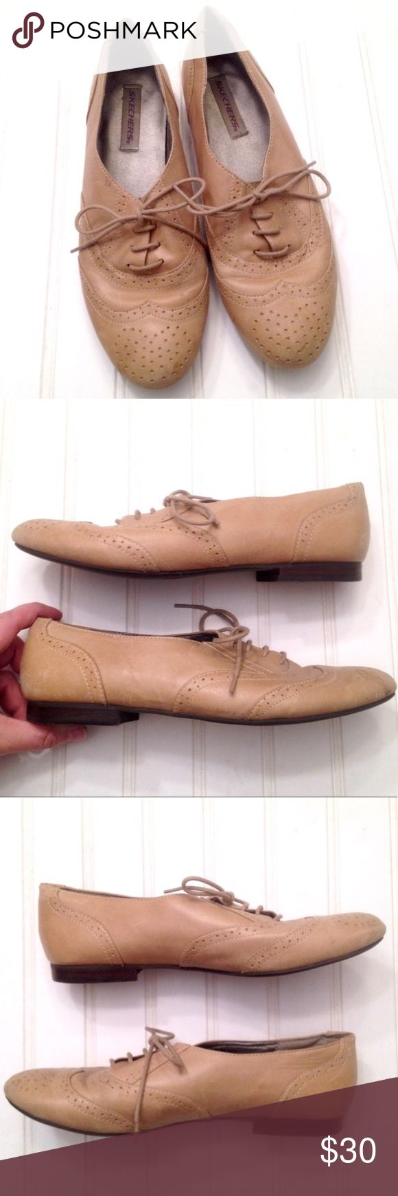 """Genuine tan leather lace-up Oxfords loafers From Skechers, these tan genuine leather Oxford loafers have all the details of a classic dress shoe in a feminine cut, including low ankle and tapered almond toe. Hard rubber heel and flexible smooth rubber sole. Size 7.5 but run a little small. Insole: 9.5"""". Width at widest on bottom: 3 1/4"""". Heel height: 1/2"""". VGUC. A couple water spots on front of both shoes and light surface scuffs to heels but overall well-kept. Feel free to ask questions or…"""
