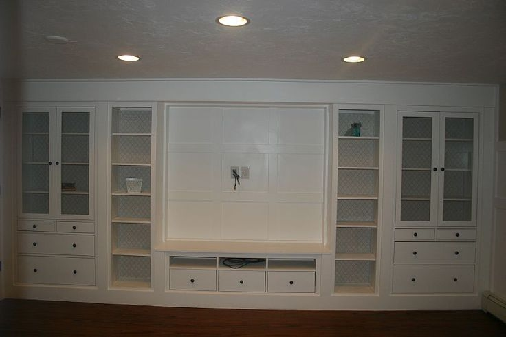 Built-in look using a wall of Ikea cabinets...awesome!