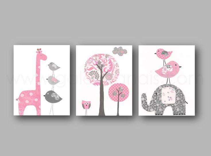 Elefante infantil jirafa vivero pared arte bebé niña vivero Decor Ave niños pared arte color de rosa y gris vivero - conjunto de tres impresiones