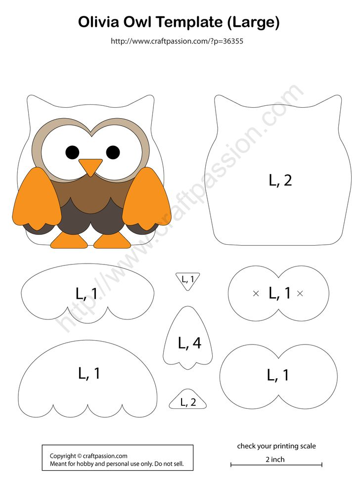 Universal owl pattern for scrapbooking, appliqué patchwork , sew felt / leather charm. Enlarge pattern to sew into soft toy. Modify & sew into zipper purse. – P