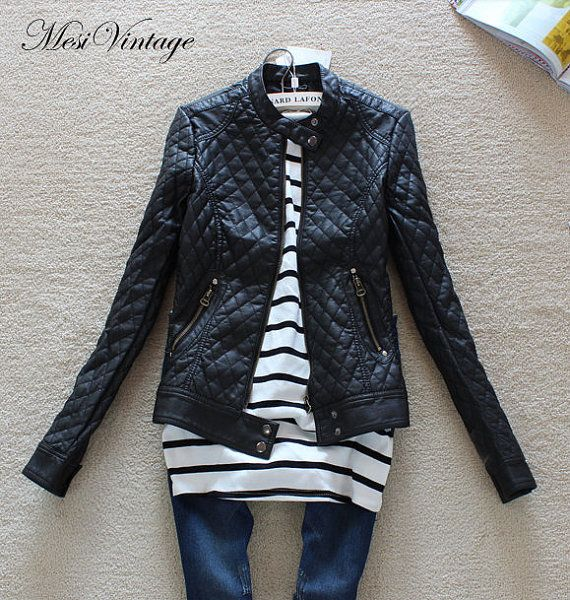 Worldwide free shipping, in 4 sizes Pu leather quilted coats for Lady/women winter Coat /zipper jacket/PU leather jacket, quilted coat on Etsy, $74.82 AUD