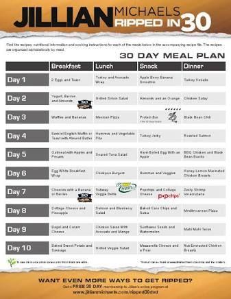 Image result for jillian michaels 30 day shred plan pdf