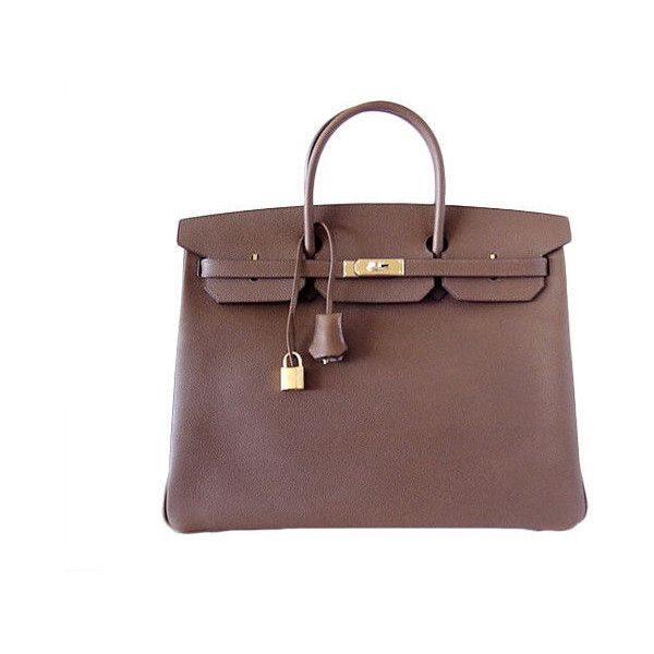 HERMES - HERMES Birkin 40 Bag rare ALEZAN 2die4 NEW leather veau... ❤ liked on Polyvore featuring bags, handbags, hermes, bolsas, borse, purses, hermes purse, leather purses, handbag purse and brown leather bag