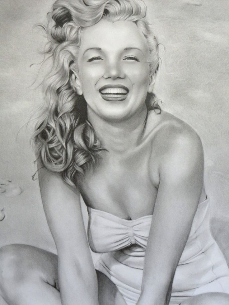 Marilyn Monroe close up (Drawing) I by anyus / This image first pinned to Marilyn Monroe art board here: https://www.pinterest.com/fairbanksgrafix/marilyn-monroe-art/ #Art #MarilynMonroe