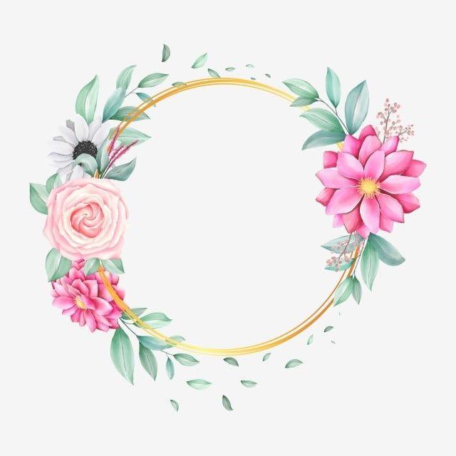 Download Blank Round Pink Roses Frame Vector On Blue Background For Free Rose Frame Pink And White Background Floral Border Design