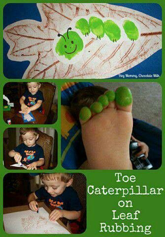 Put a leaf under a paper, rub over leaf with a crayon, dip toes in paint then touch to paper, draw, & cut out.