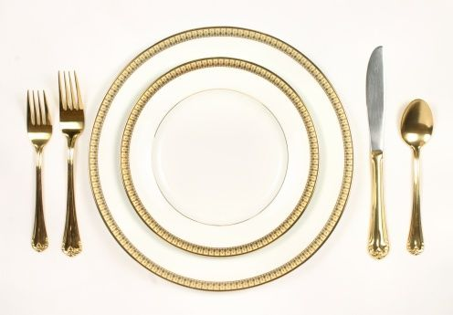 Place setting fine china white and gold dinner plate and cutlery