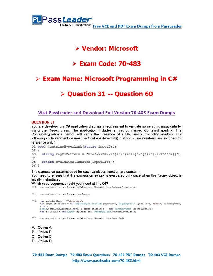 70-483 Exam Dumps with PDF and VCE Download (31-60)