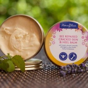 Bee Repaired- Cracked skin & Heel Balm.Soothing repair to cracked skin. protects and heals. 50 gm tin. With  sweet almond, rice bran, avocado wheatgerm, shea butter, beeswax and honey. Antiseptic and antifungal.