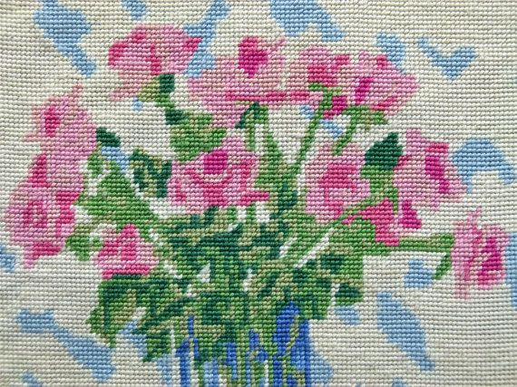 "Completed needlepoint ""Les Roses"""
