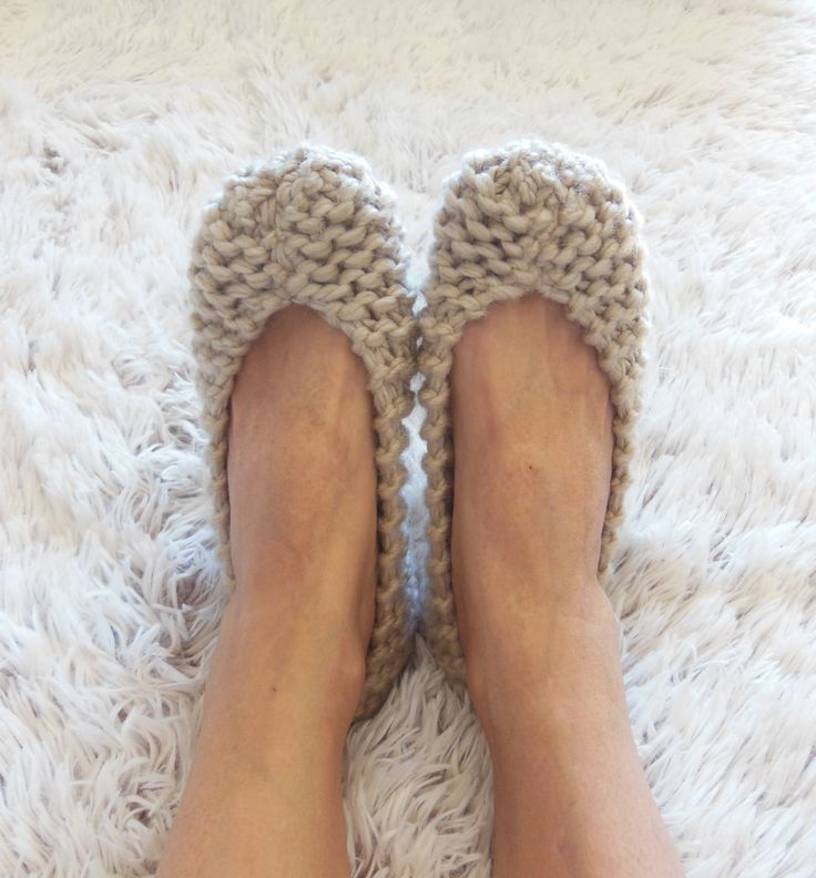 Chunky beige slippers for women - Footwear - Handmade home shoes -  Knitted slippers - House flats - READY to SHIP by NENAKNIT on Etsy https://www.etsy.com/listing/228275750/chunky-beige-slippers-for-women-footwear