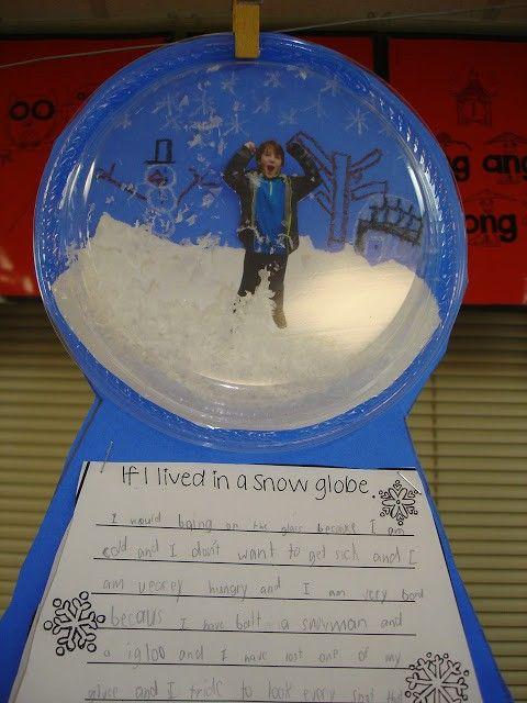 Laat de kinderen een eigen sneeuwbal maken met een doorschijnend plastic bordje en een foto van henzelf. Gevonden op een Amerikaanse site.