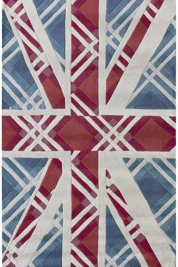 Hand Tufted Wool Rug With A Union Jack Motif