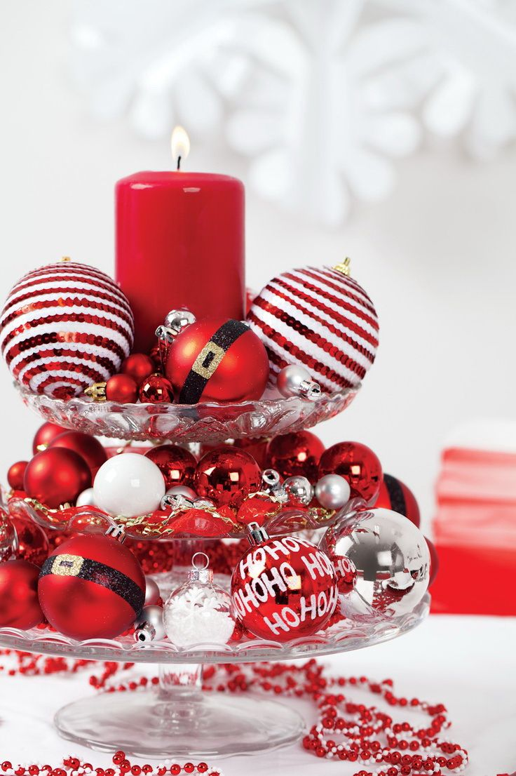 Christmas Centerpiece With Ornaments And One Big Candle  15 Gracious  Christmas Diy Table Decorations