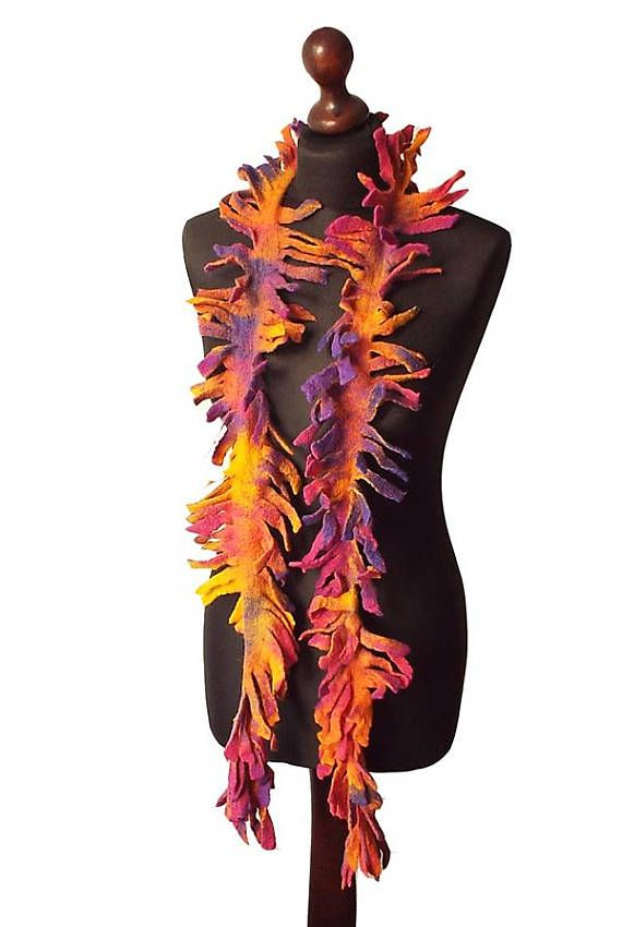 Felted Scarf Felted Collar Felt Necklace Felted Boa Purple Orange Pink Yellow Multicolor Wool scarf Boho Womens Gift OOAK  Felted scarf / collar / necklace made from finest Australian merino wool. Lightweight and soft to the touch. Colors: purple, violet, orange, pink, fuchsia, yellow.