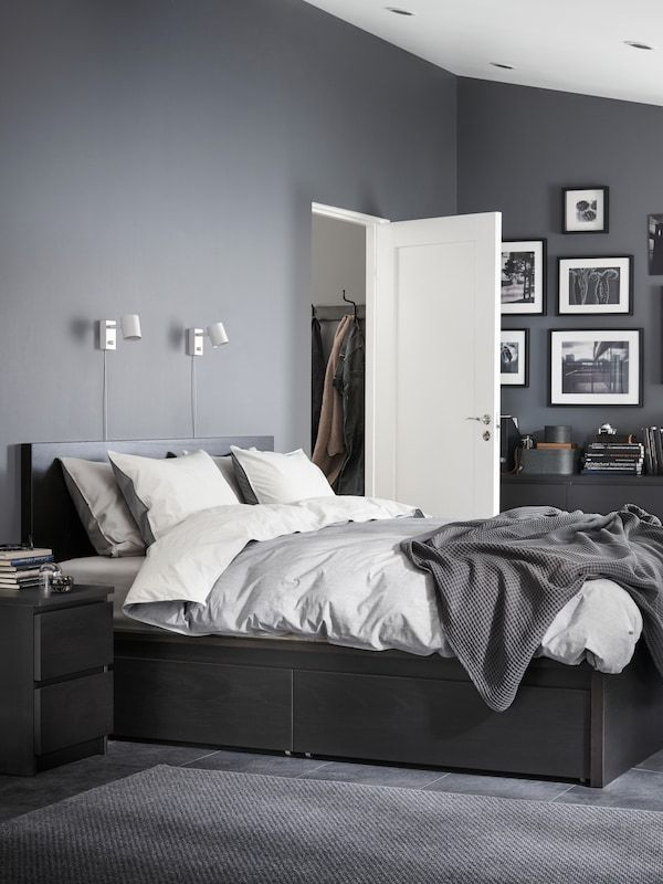 Malm High Bed Frame 4 Storage Boxes Black Brown Full Ikea In 2021 Grey Bedroom Decor Mens Room Ideas